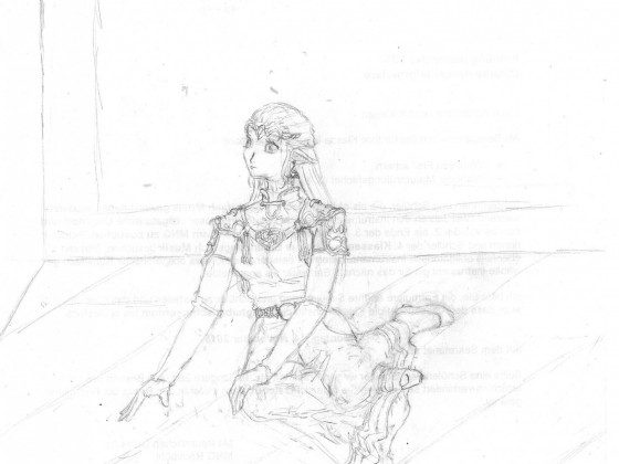 Skizze zum zweiten Teil des LoZ-Bilds - Zelda