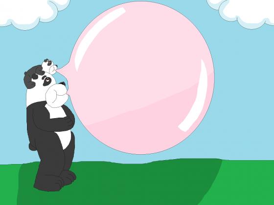 Pandastische Vater-Sohn-Kaugummiblase