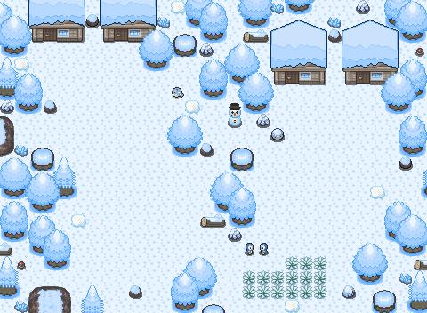 Schnee mit Häusern und Pokemon