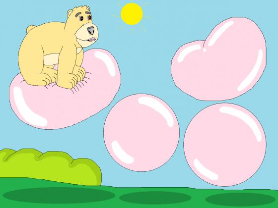 Hüpf, Hüpfedihüpf auf den Kaugummiblasen