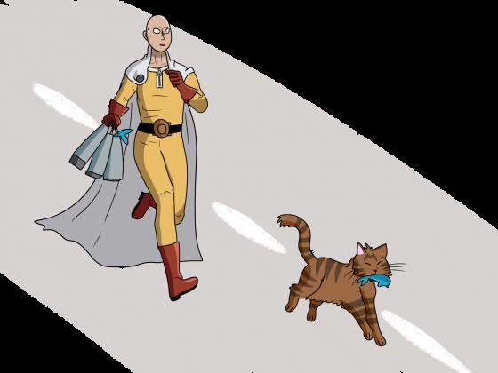 Saitama und eine Katze machen etwas Lustiges