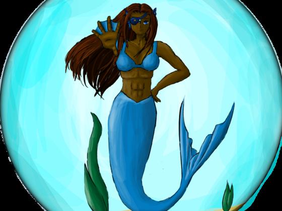 Meerjungfrau im Goldfischglas