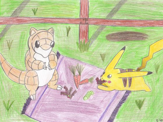 Sandan und Pikachu