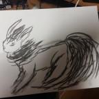 Einfache Flamara Zeichnung mit Zeichenkohle
