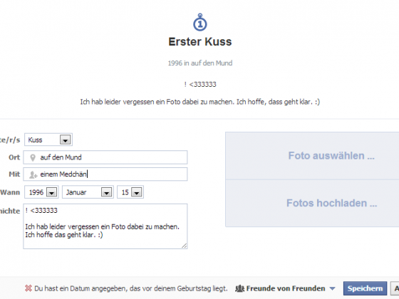 Facebook-Lebensereignisse