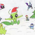 Weihnachtsbaumschmücken im Schnee