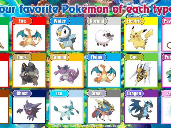 Meine Lieblings Pokemon von jedem Typ( schnell zusammen gestellt.)