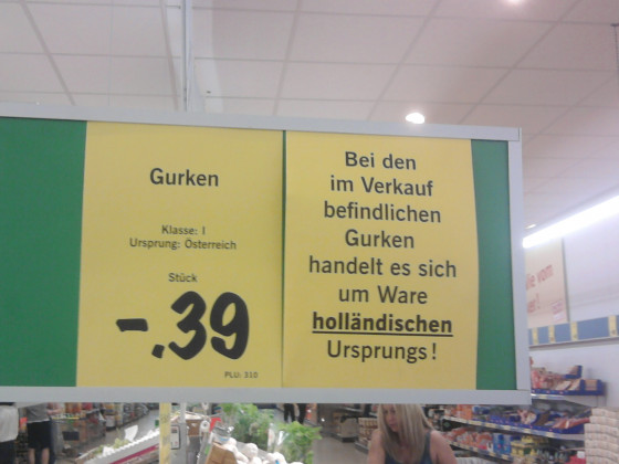 Gurken holländischen Ursprungs aus Österreich