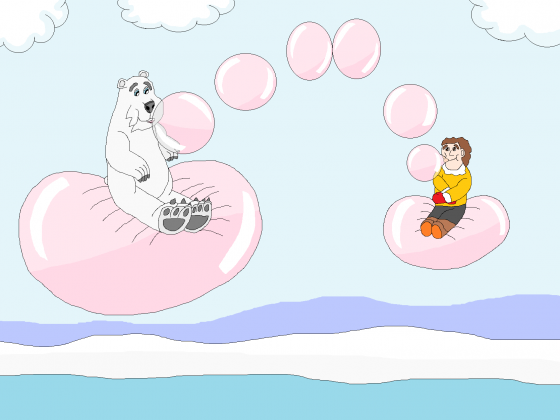 Mit dem Eisbären Kaugummiblasen machen