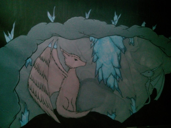 Wolf & Drache in einer Höhle