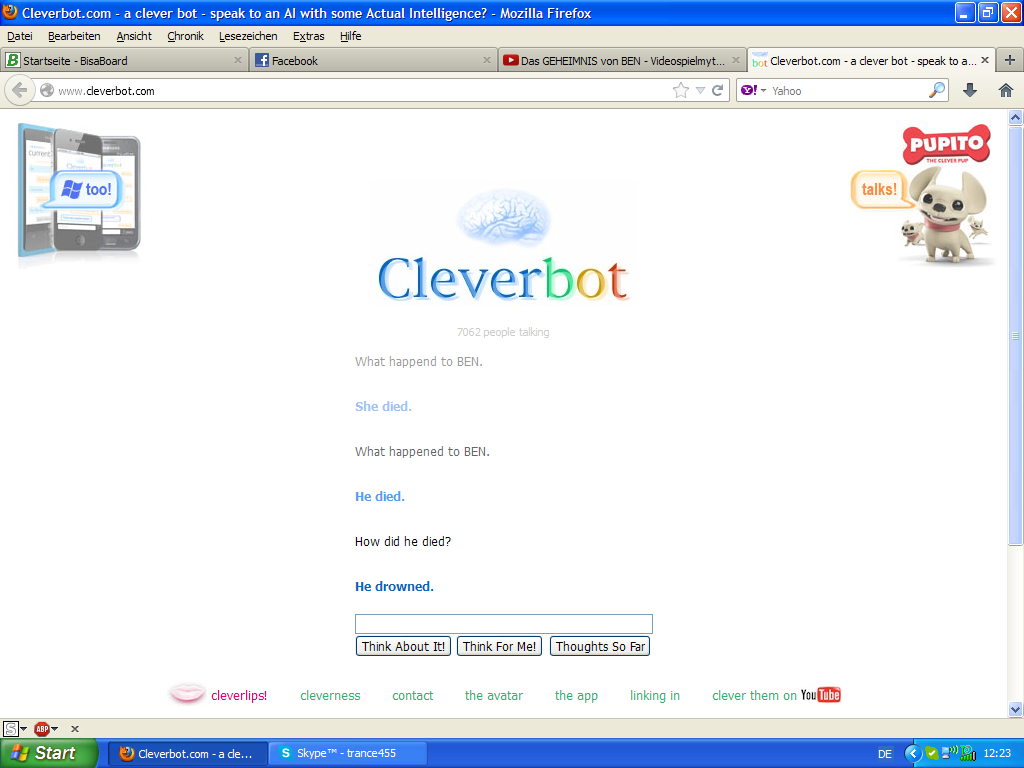 Ben Drowned... What the Fuck Cleverbot?!