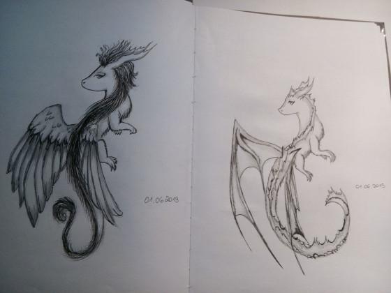 zwei große Drachen