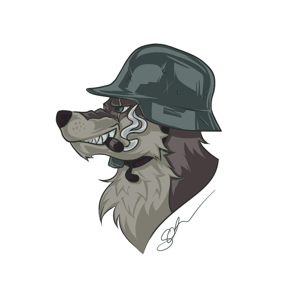 Wolf mit Stahlhelm - selten so einen kreativen Titel gesehen :D