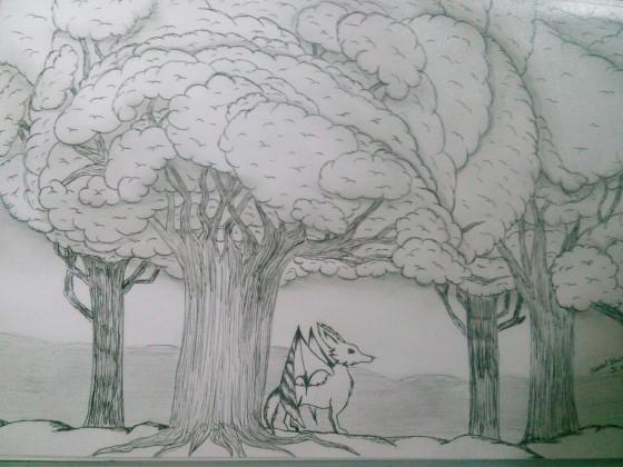 geflügelter Fuchs im Wald