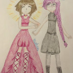 Girlfriends in dresses