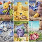 Gen 1 Pokemon in unterschiedlichen Regionen