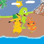 Pikachu, Geckarbor und Flemmli am Strand