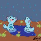 Felino im Regen